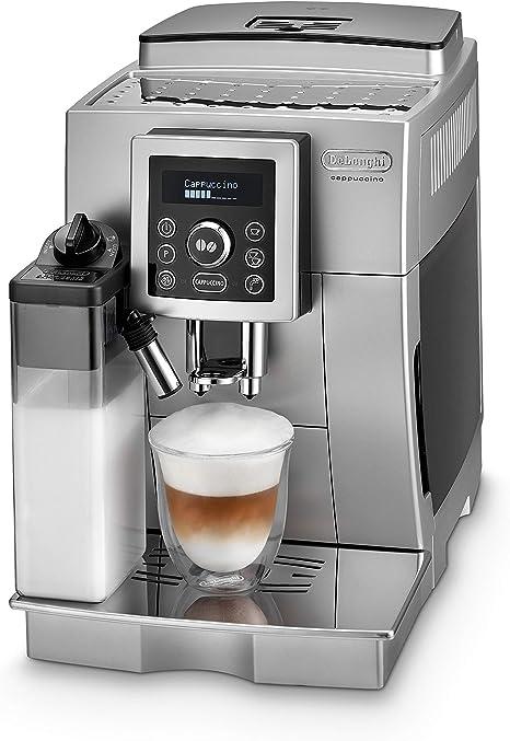 DeLonghi ECAM Cafetera automática compacta con suporte para tazas y con portafiltro, 1450 W, 1.8 L, plástico, plateado: DeLonghi: Amazon.es: Hogar
