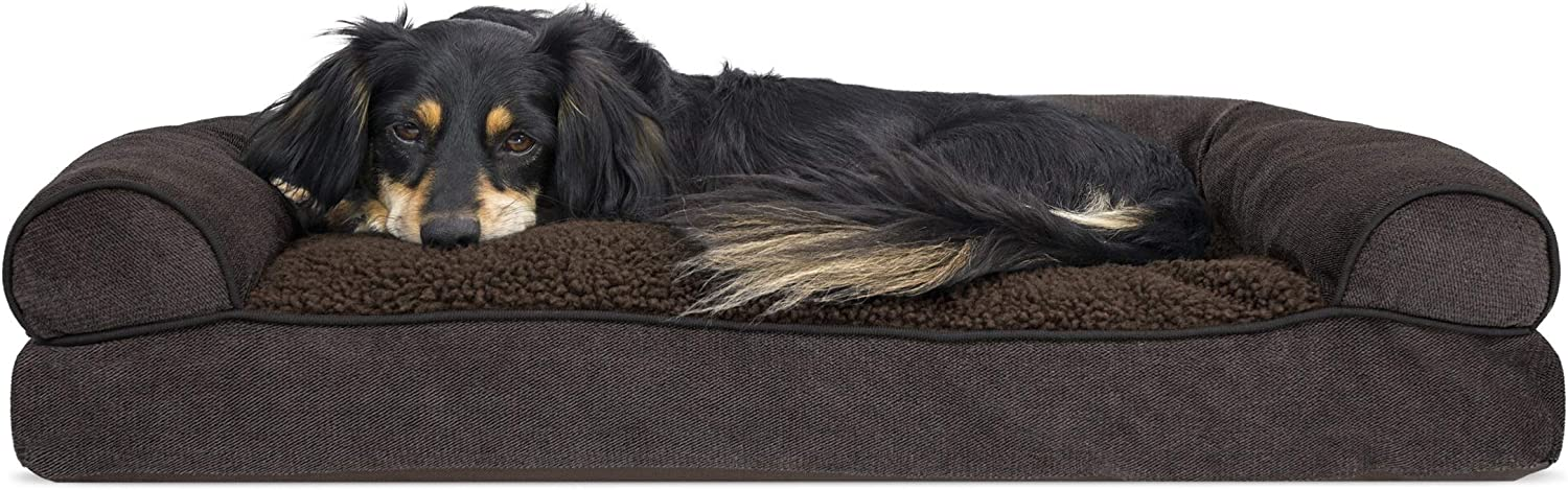 Furhaven Pet Dog Bed - Faux Fleece and Chenille Soft Woven Pillow Cushion Traditional Sofa-Style Living Room Couch Pet Bed with Removable Cover for Dogs and Cats, Coffee, Medium : Pet Supplies