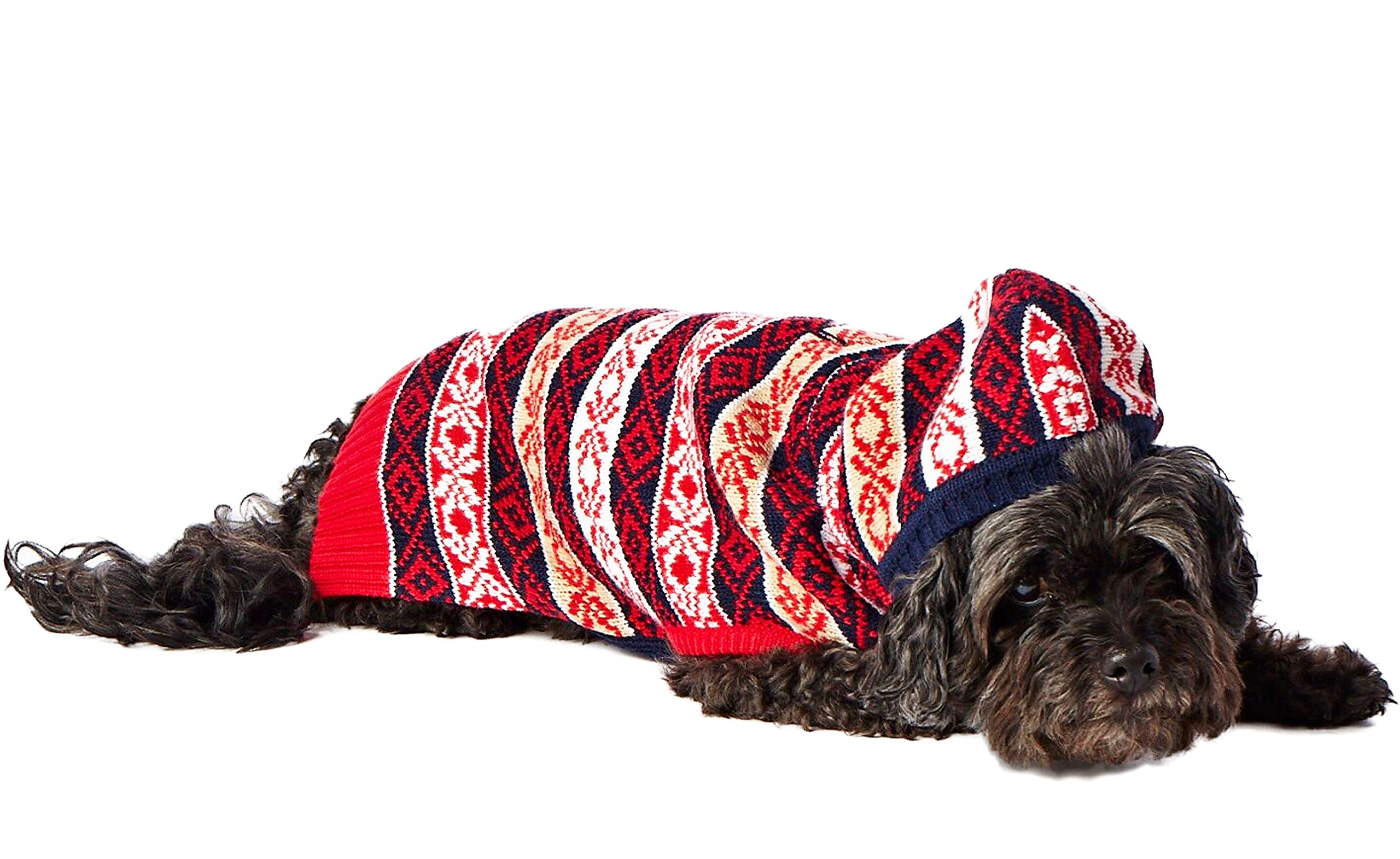 Hotel Doggy Jacquard Hooded Sweater, Peacoat Blue, Small
