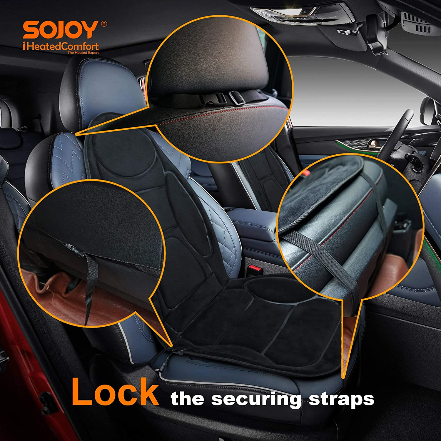 Color Black Sojoy /12V Heated Seat Cushion Made with Super Soft Velour Providing a Fast Warming Controller and Equipped with a 45 Minutes Heating Timer for a Safety Operation SJ115RO54