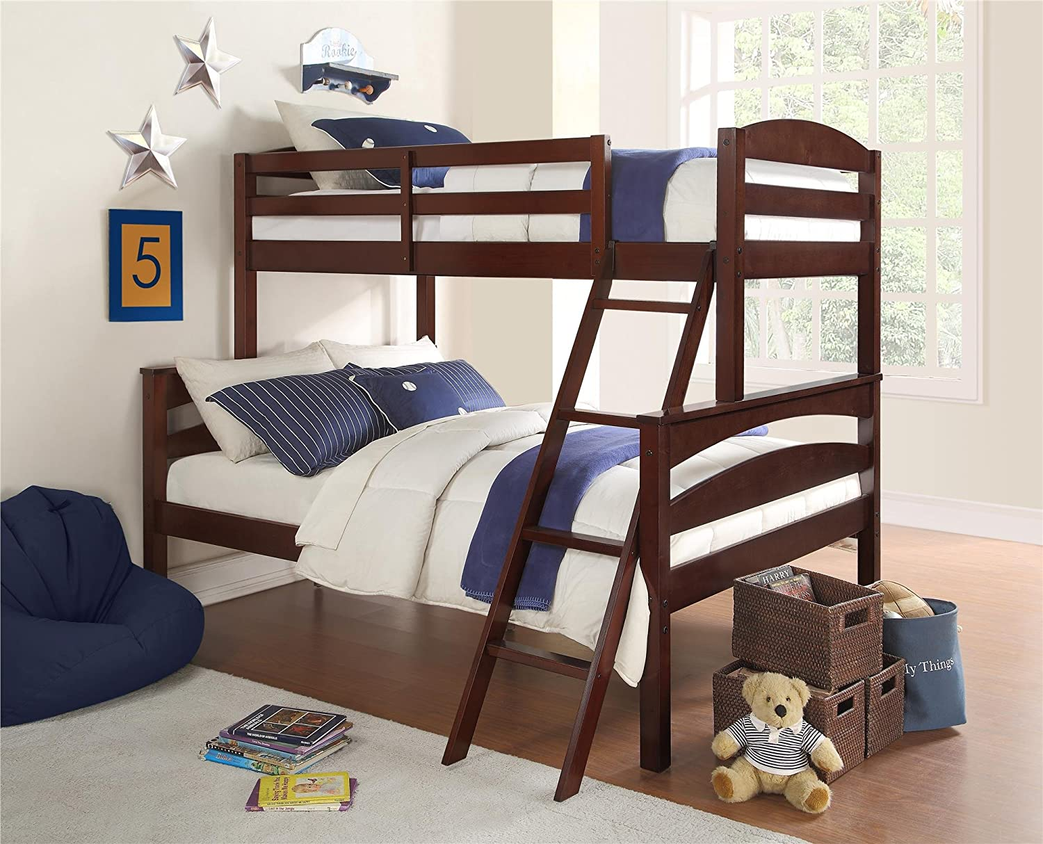 kids bunk bed with stairs. Amazon.com: Dorel Living Brady Twin Over Full Solid Wood Kid\u0027s Bunk Bed With Ladder, Espresso: Kitchen \u0026 Dining Kids Stairs S