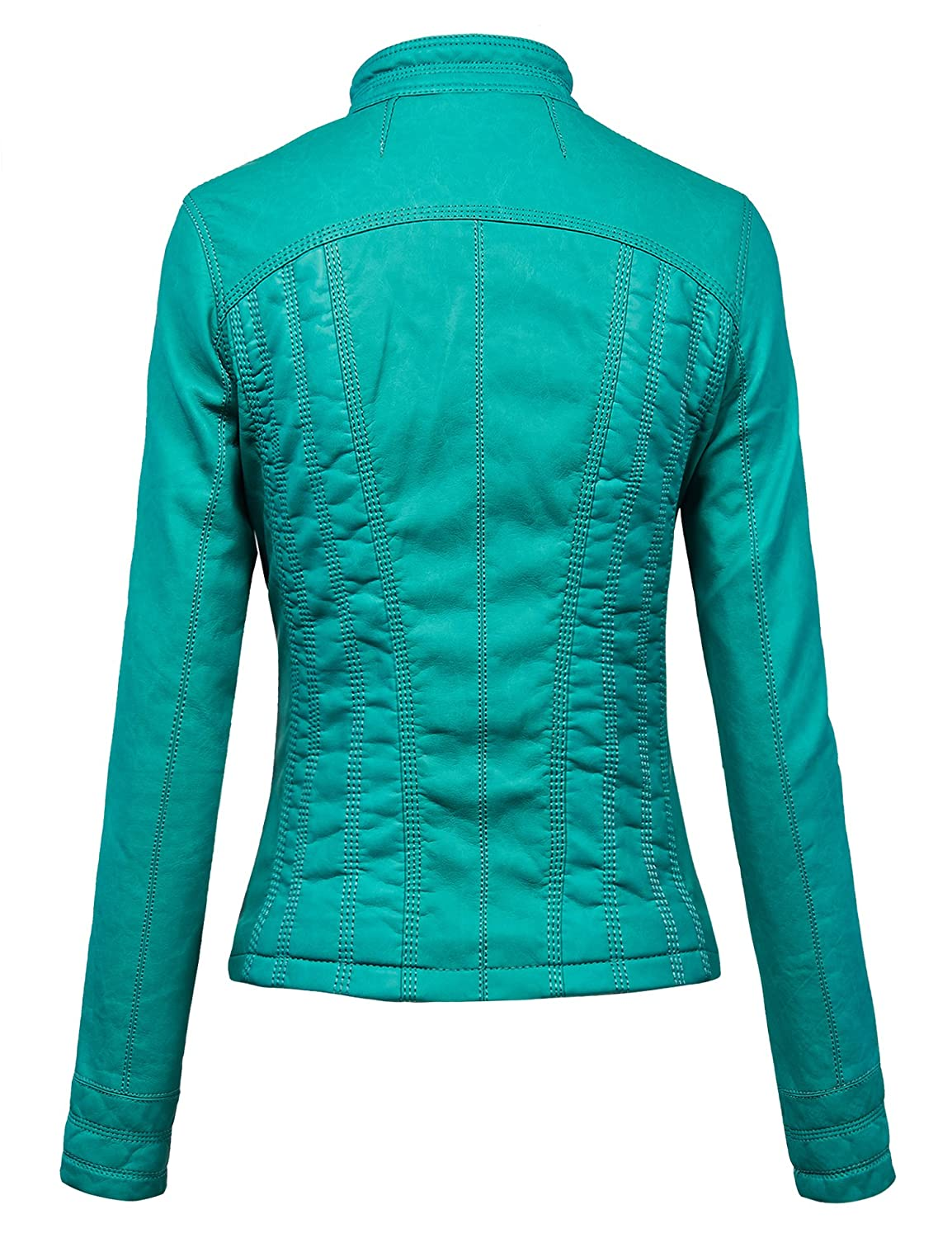 126cc58a1 Lock and Love LL Womens Faux Leather Zip Up Bomber Jacket with Hood