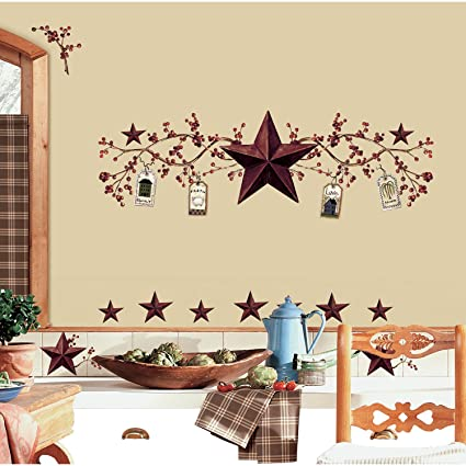 RoomMates RMK1276SCS Country Stars And Berries Peel Stick Wall Decals 40 Count