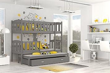 Etagenbett Quba 3 : Etagenbett hochbett jakob farbe grau mit einer schublade