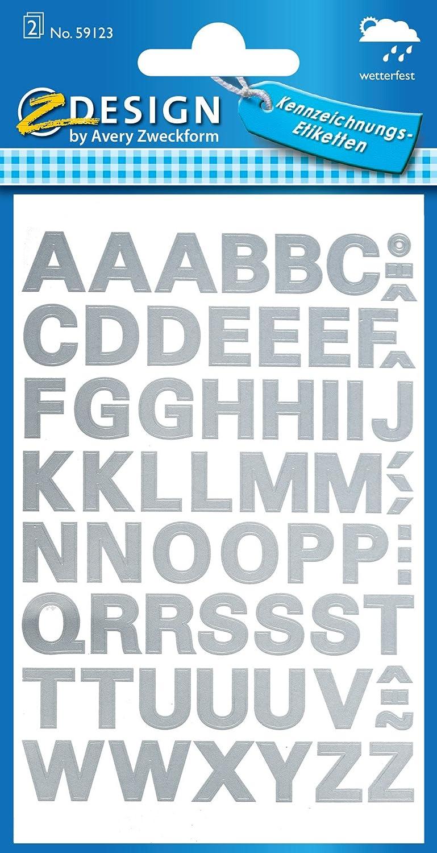 etichette con lettere e numeri Alfabeto Oro Z-Design Pellicola resistente alle intemperie