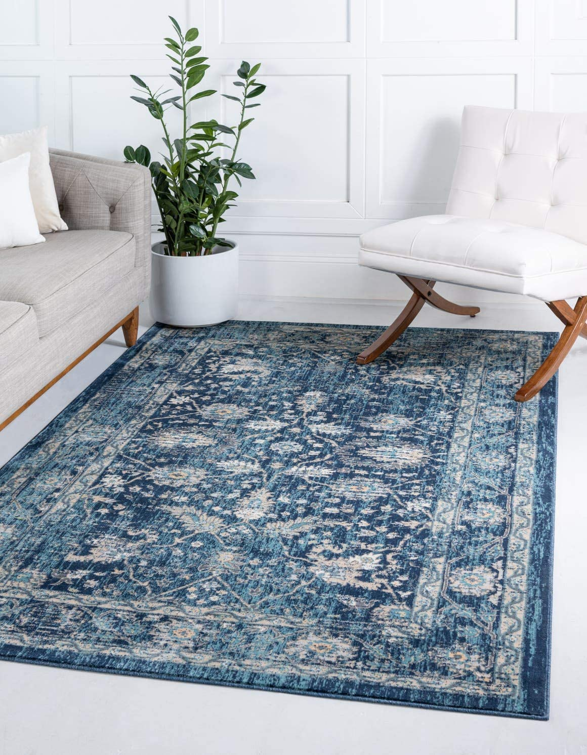 Unique Loom Oslo Collection Traditional Botanical Navy Blue Area Rug 10 x 13
