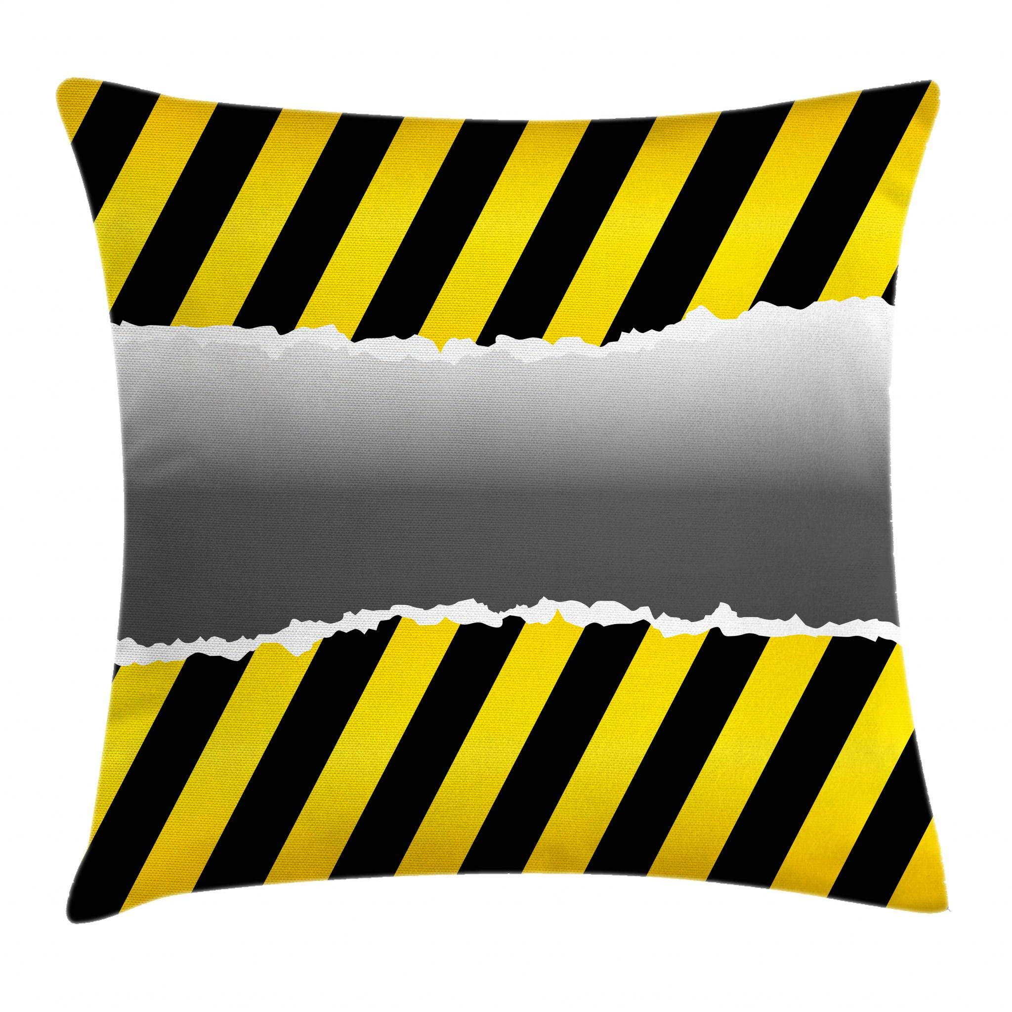 Ambesonne Construction Throw Pillow Cushion Cover, Ripped Sign Working Site Danger Hazard Progress Caution Urban Pattern, Decorative Square Accent Pillow Case, 16 X 16 Inches, Yellow Black Grey