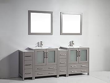 84 inch vanity top double sink. Vanity Art 84 inch Double Sink Bathroom Set with Ceramic Top  Free Mirror VA3030