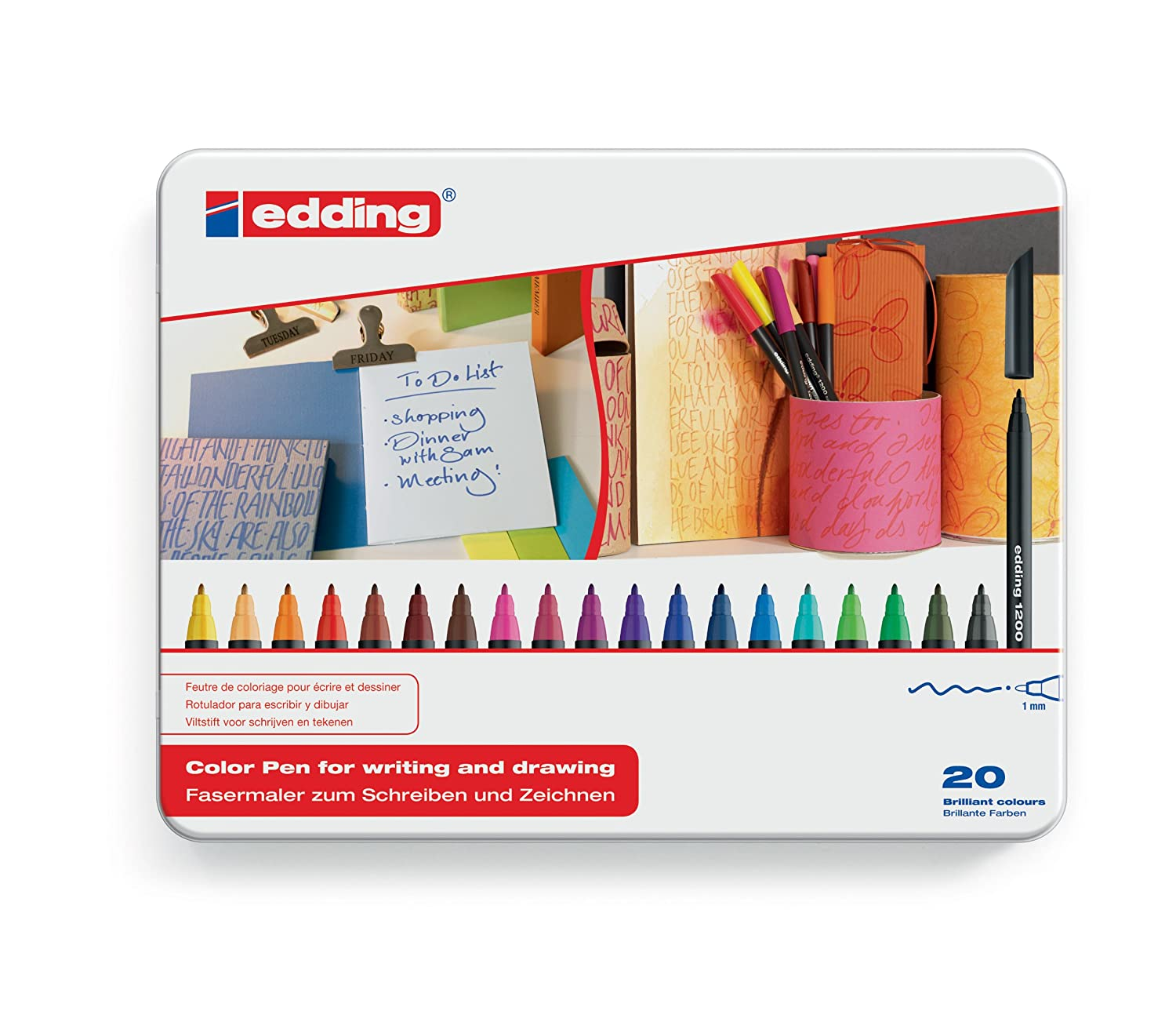 Edding 4-1200-6 Fasermaler 1200 Color Pen, 1-3 mm, 6-er Set, sortiert, metallic 4-1200met-6