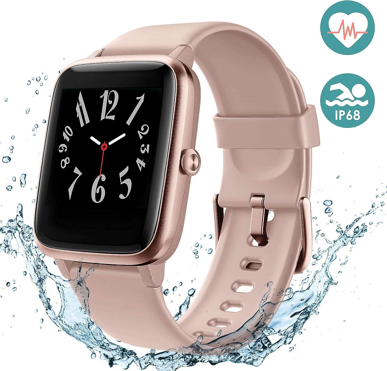 Arbily Reloj Inteligente Pantalla Táctil Completa Pulsera de Actividad Smartwatch Mujer Hombre Niño Reloj Deportivo a Prueba de Nadar Impermeable Podómetro Monitor de Sueño para iOS Android (Rosado)