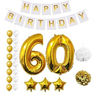 60 decoraciones de cumpleaños - Paquete de 23 Decoracion de Fiesta - Estandarte de feliz cumpleaños - Globos de Látex Dorados y Blancos 16 pc, Globos ...