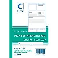 ELVE 64894 Carnet Fiches Intervention 50 Feuillets Numérotes en Tripli Original Plastique Assorties