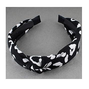 Black White turban knot headband polka dot fabric covered head band grip teeth