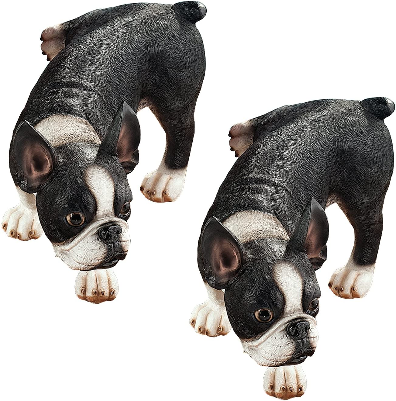 Design Toscano Lifting a Leg Naughty Boston Terrier Dog Statue: Set of Two
