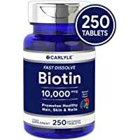 Biotin 10000mcg | 250 Fast Dissolve Tablets | Max Strength | Hair, Skin, and Nails Supplement | Vegetarian, Non-GMO, Gluten Free | by Carlyle