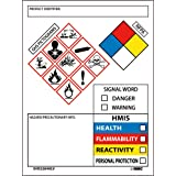 """NMC 4"""" x 3"""" GHS Secondary Container Label, 4.0"""" H x 1.0"""" L"""