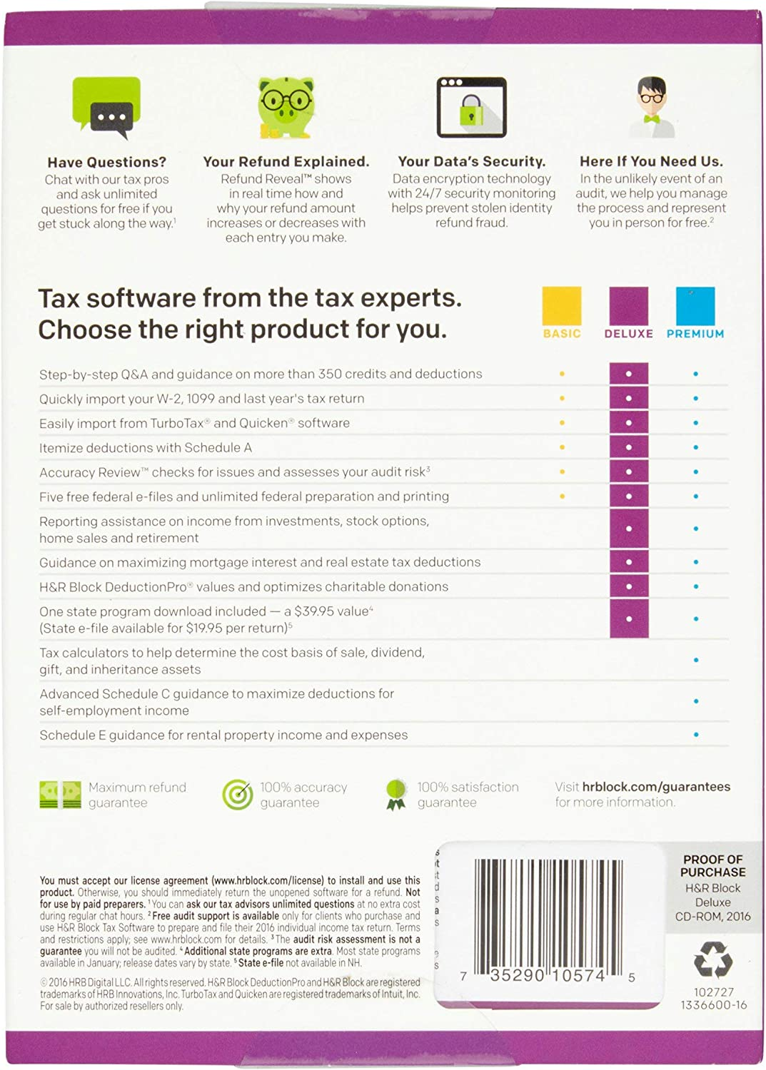 HR Block(R) Deluxe + State 2016 Tax Software, For PC/Mac, Traditional Disc