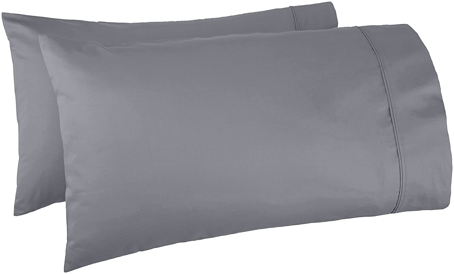 AmazonBasics 400 Thread Count Pillow Cases- Standard, Set of 2, Dark Grey