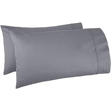 AmazonBasics 400 Thread Count Pillow Cases  - Standard, Dark Grey