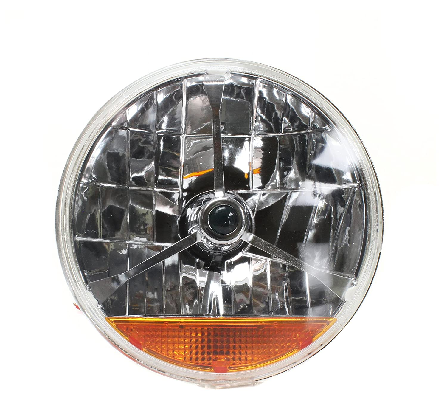 1 Pack AutoLoc Power Accessories 324101 Tri-Bar 7 Halogen Lens Assembly With Amber Turn Signal Pair