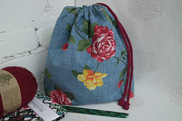 91cbb6af4a99e Amazon.com: Medium Drawstring Knitting Project Bag, Yarn Storage Bag ...