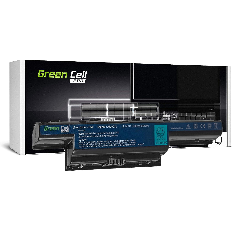 Green Cell Pro Serie Laptop Akku AS10D31 AS10D3E AS10D41 AS10D51 AS10D61 AS10D71 AS10D73 AS10D75 AS10D81 fü r Acer/eMachines/Packard Bell (Original Samsung SDI Zellen, 6 Zellen, 5200mAh, Schwarz) AC06PRO_AD_1