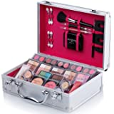 Maúve Carry All Trunk Train Case with Makeup and Reusable Black & White Aluminum Case