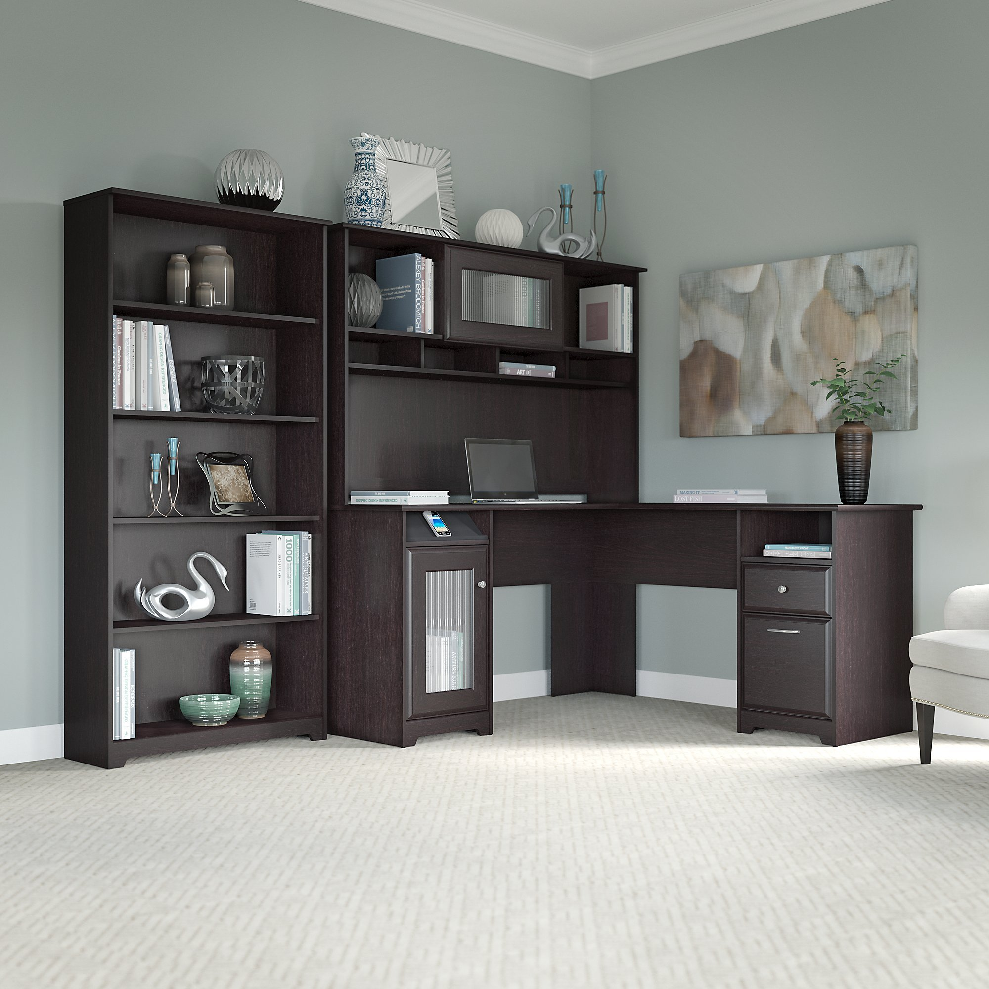Cabot L Shaped Desk with Hutch and 5 Shelf Bookcase in Espresso Oak