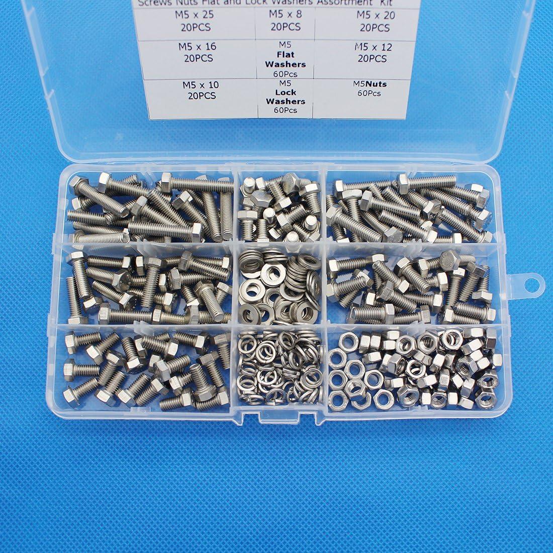 Raogoodcx 300Pcs M5 Stainless Steel Metric Hex Flat Head Bolts Screws 8mm 10mm 12mm 16mm 20mm 25mm Nuts Flat and Lock Washers Assortment Kit