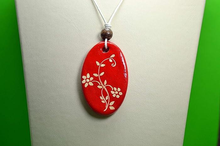 amazon com handmade air dry clay flower painting necklace handmade