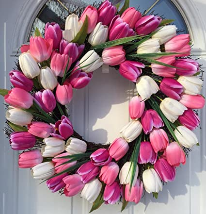 Spring Indulgence Pink And White Tulip Wreath Indoor And Outdoor Wreath  Front Door Decoration