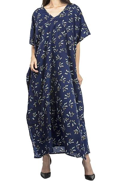 ff30349f4d79 Miss Lavish Women s Kaftan Tunic Kimono Maxi Dress Summer Beach Cover up  Plus Size Dresses (