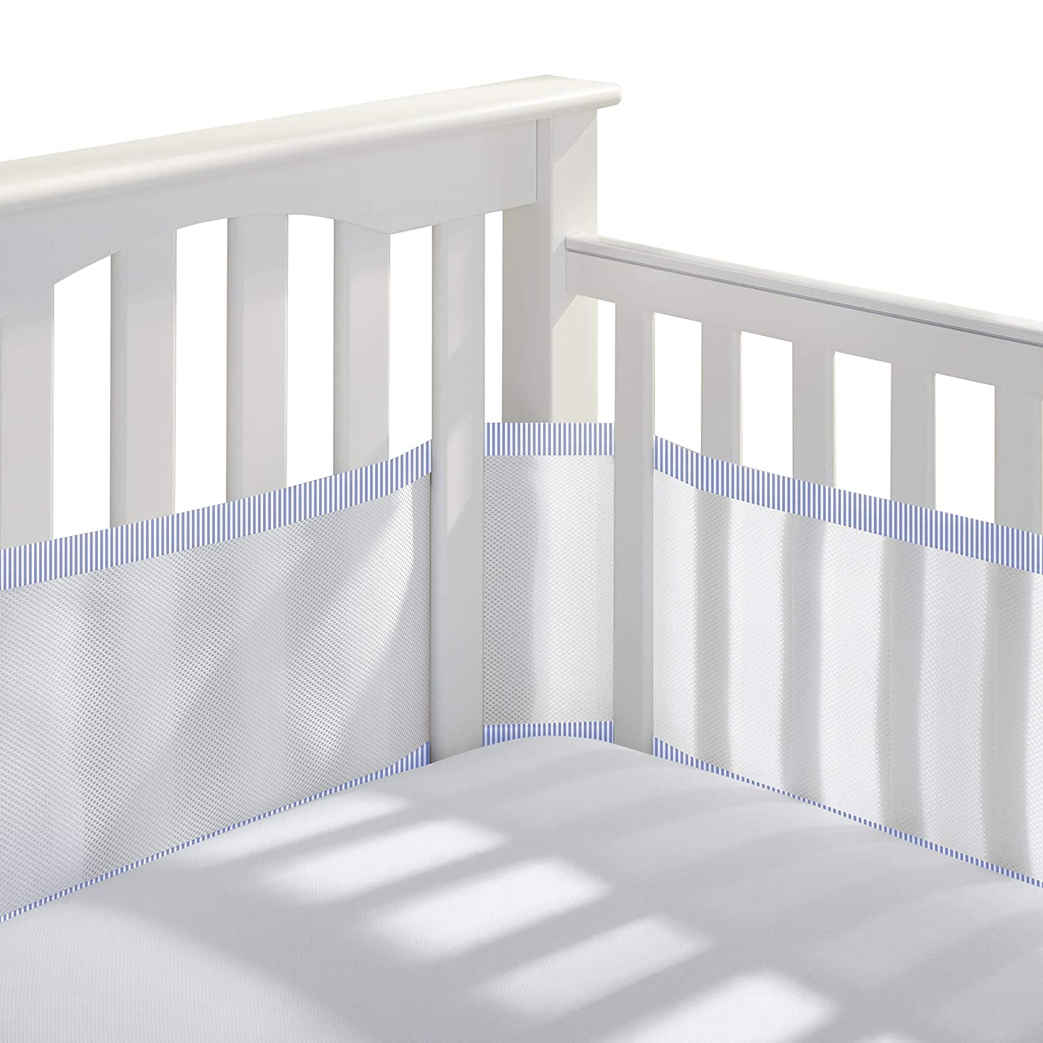 White and Pink Seersucker Trim BreathableBaby Classic Breathable Mesh Crib Liner