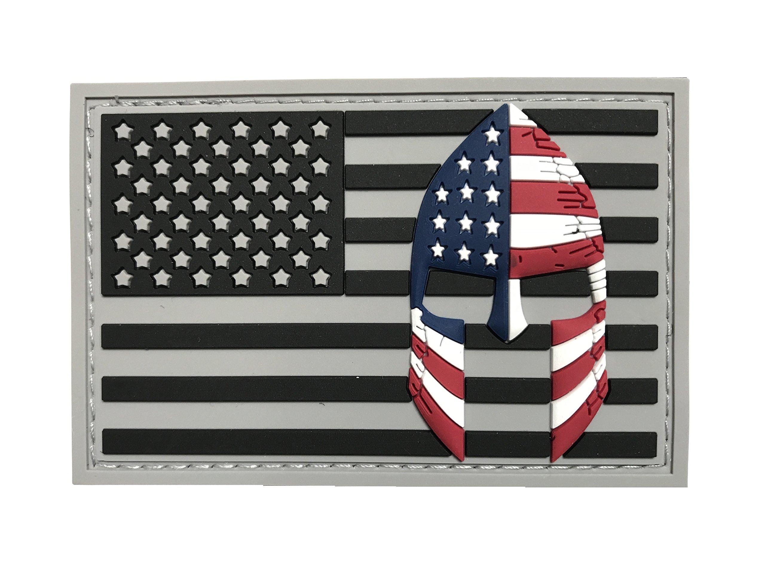 USA Flag with Spartan Helmet Molon Labe Velcro 3D PVC Rubber