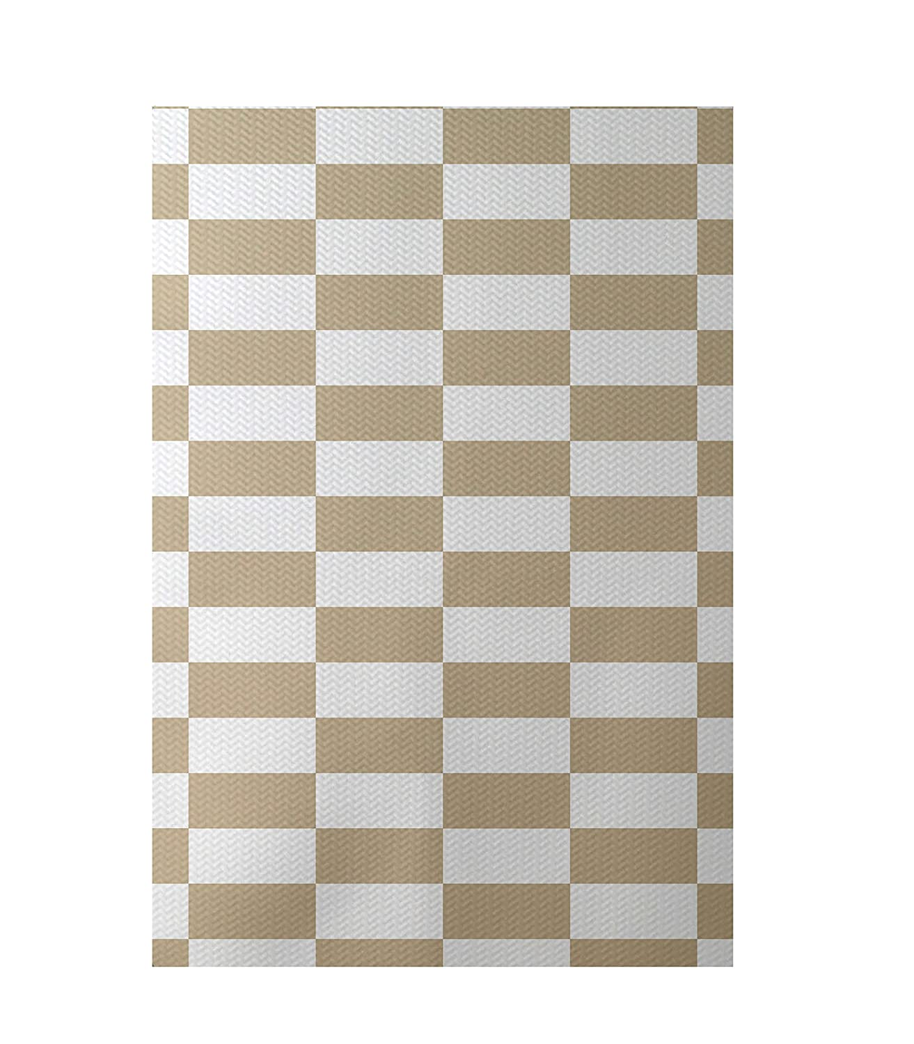 E by design RSN135TA6-23 Stair Stepping Stripes Print Indoor/Outdoor Rug, Khaki