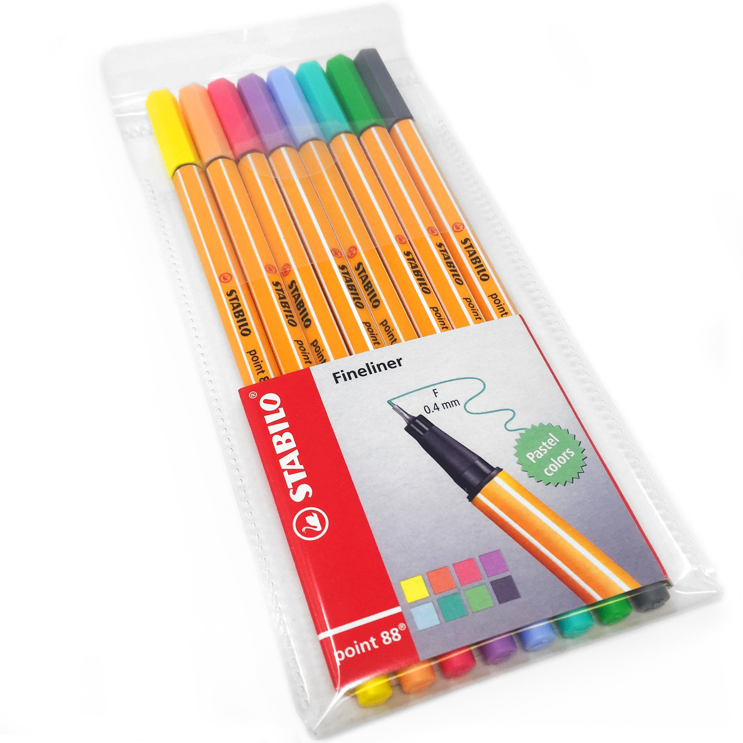 "STABILO Point 88 ""Neon Colours"" Fineliner Pen - Assorted Colours (Pack of 6) pack of 8 Pastel"