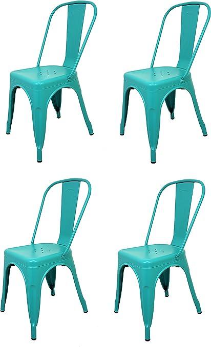 La Silla Española - Pack 4 Sillas estilo Tolix con respaldo. Color Turquesa. Medidas 85x54x45,5: Amazon.es: Hogar