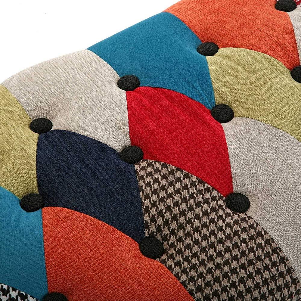 Vetrineinrete/® Sgabello da Letto Stile Patchwork Pouf poggiapiedi in Tessuto Legno Multicolor