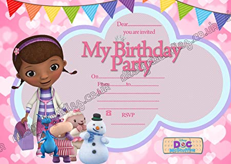 Image Unavailable Not Available For Colour 10 X Birthday Party Invitation Card Doc McStuffin Thick Cards FREE Envelopes