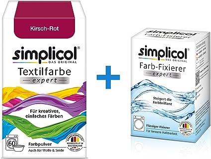 Simplicol Expert + fijador del Color Paquete de Kombi Fabric Dye: Tinte de Coloración para Textiles: Lavado a Mano o Lavadora - Rojo chereza