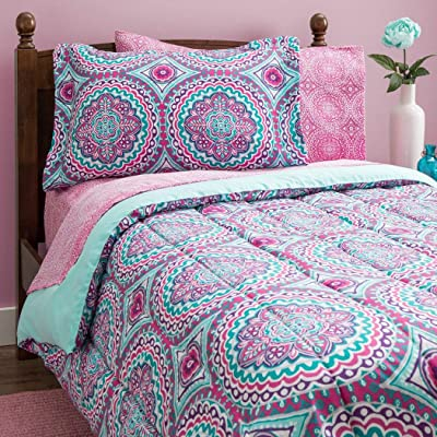 8 Piece Girls Hippie Comforter Twin Set, Multi Floral Bohemian Bedding, Teal Blue Purple Pink Floral Prints, Indie Inspired Hippy Spirit, Damask Flowers, Geometric Accents, Beautiful Pattern, Vibrant: Home & Kitchen