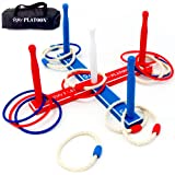 Premium Ring Toss Game Set - Includes 8 Rope & 8 Plastic Rings - Improves Hand-Eye Coordination for Kids & Adults
