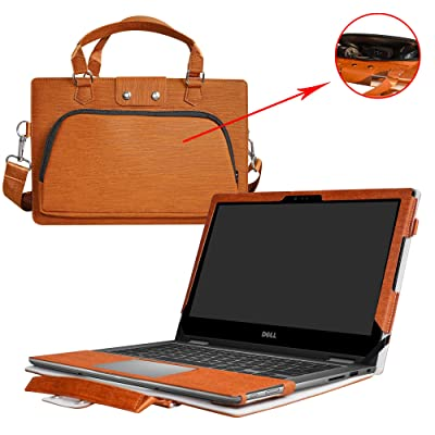 "Inspiron 17 5770 5775 Case,2 in 1 Accurately Designed Protective PU Leather Cover + Portable Carrying Bag For 17.3"" Dell Inspiron 17 5000 Series i5770 i5775 Laptop,Brown"