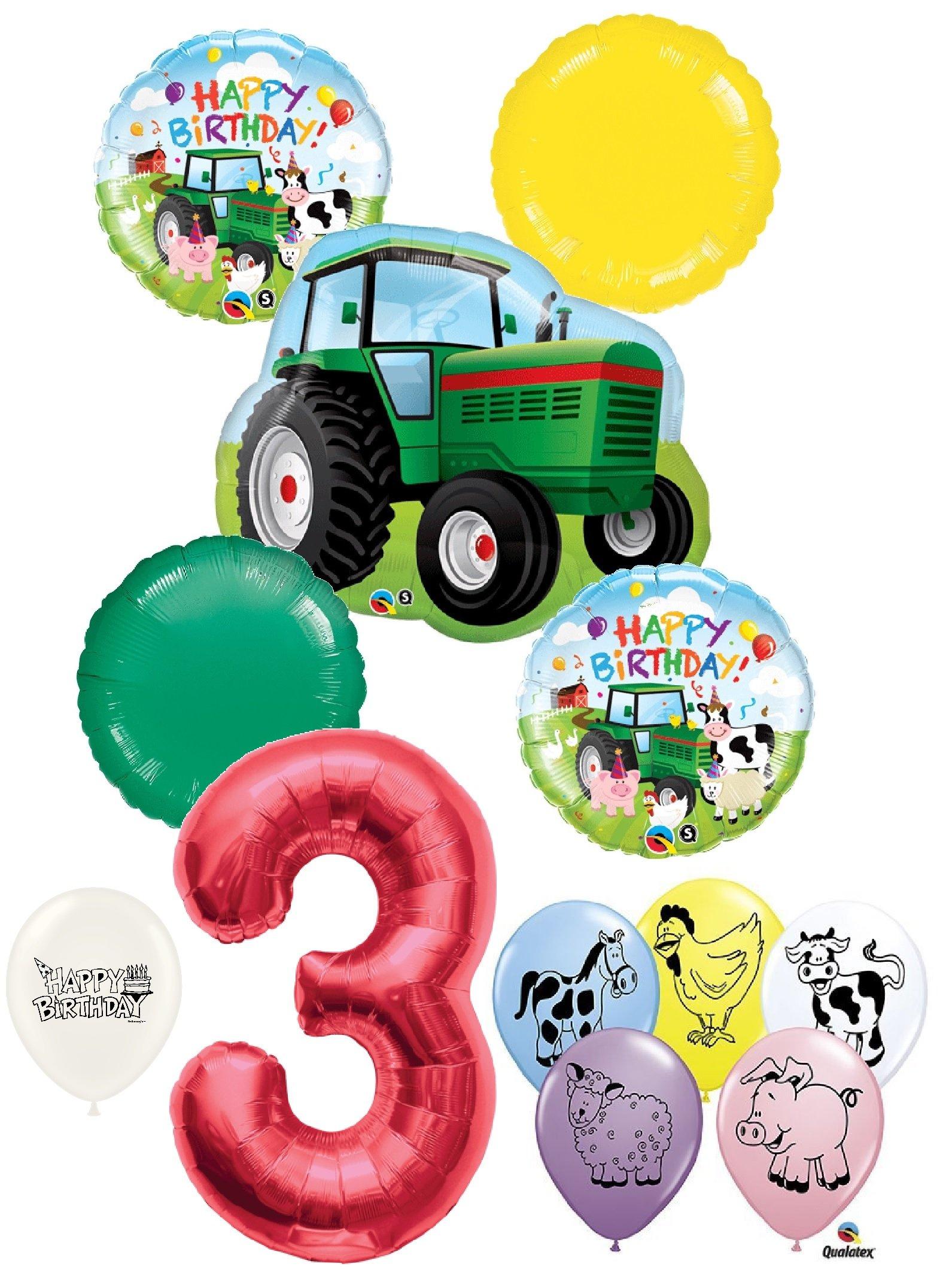 3rd Birthday Barnyard Farm Animals Tractor Party Decorations Balloon Bouquet Bundle