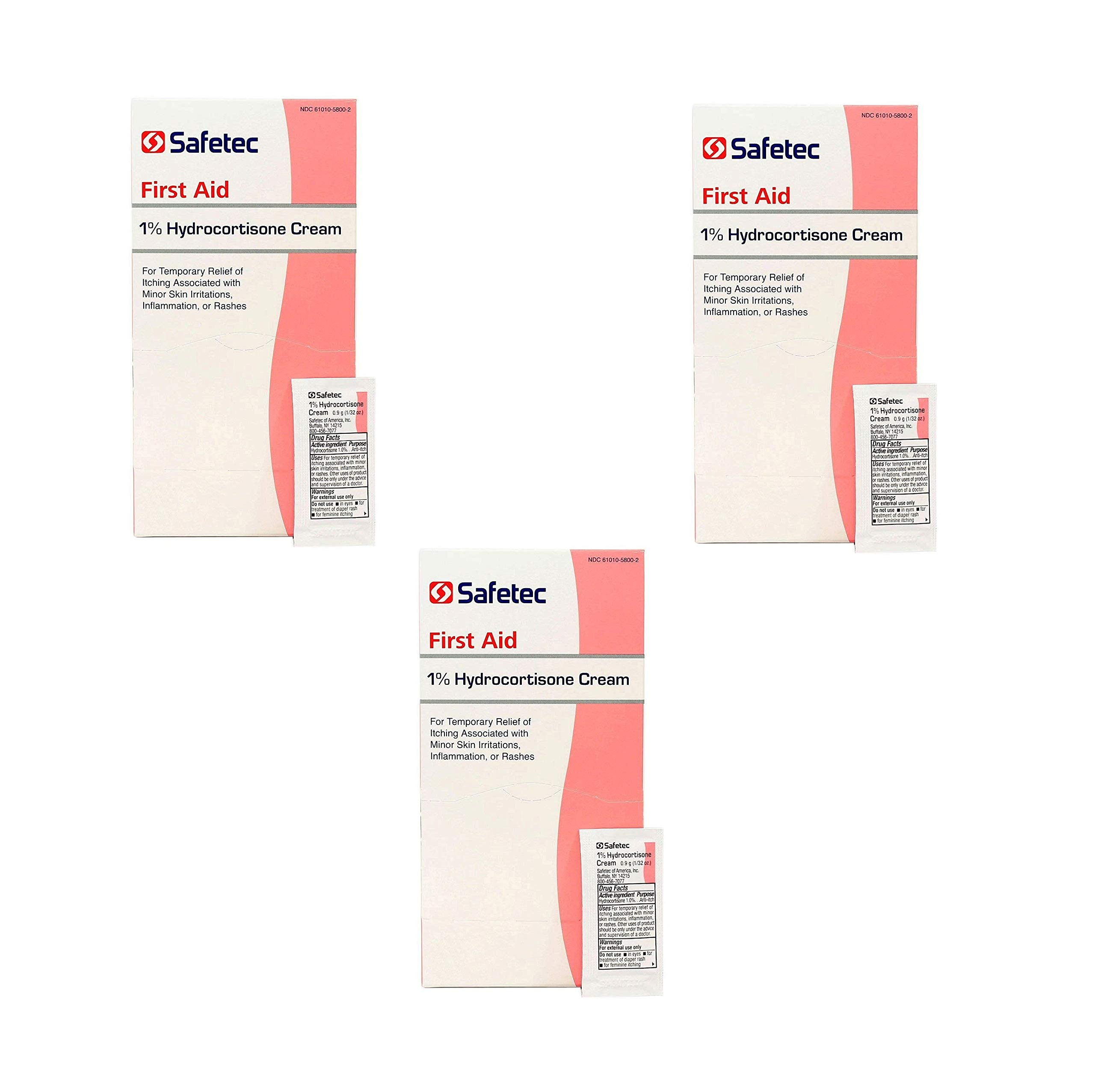 Safetec 1% Hydrocortisone Cream - 0.9 Gram Packets - 144 Count (3 Pack)