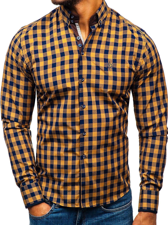 BOLF Hombre Camisa de Manga Larga A Cuadros Cuello Americano Slim Fit Estilo Casual [2B2]