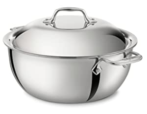 All-Clad 4500 Stainless Steel Tri-Ply Bonded Dishwasher Safe Dutch Oven with Domed Lid / Cookware, 5.5-Quart, Silver
