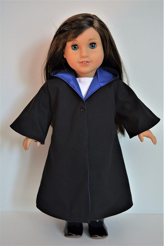 Handmade Wizard School Uniform Costume Cloak Robe Blue House Color fit 18 American Girl Boy Dolls