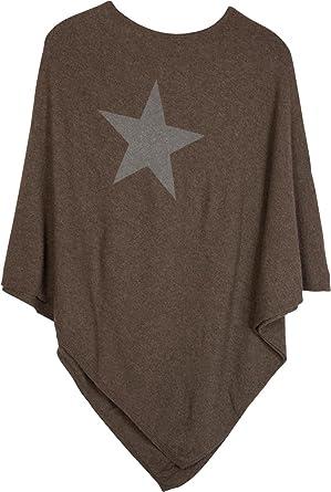 styleBREAKER weicher Feinstrick Poncho mit aufgedrucktem Glitzer-Stern,  Rundhals, Damen 08010028, Farbe