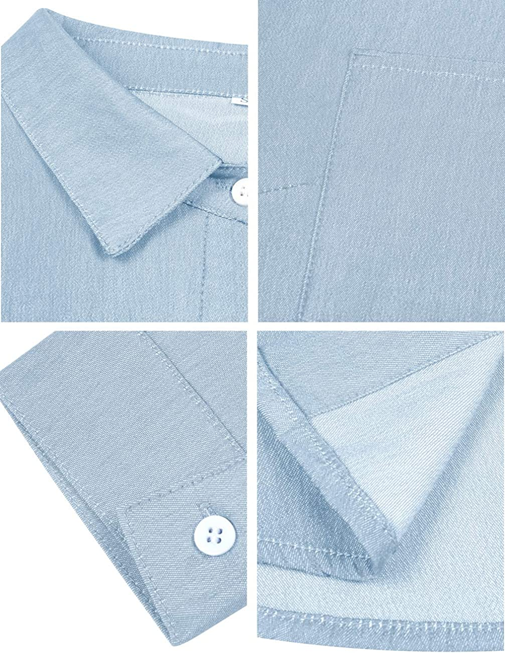 Romanstii Cotton Denim Shirt Women Long Sleeve,Long Sleeve Chambray Button Down Jeans Shirts for Casual and Work
